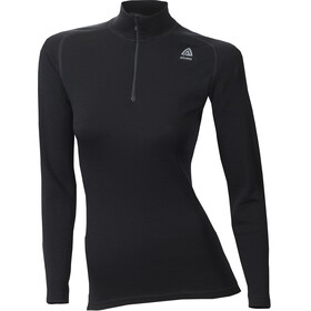 Aclima W's WarmWool Mock Neck Zip Shirt Jet Black